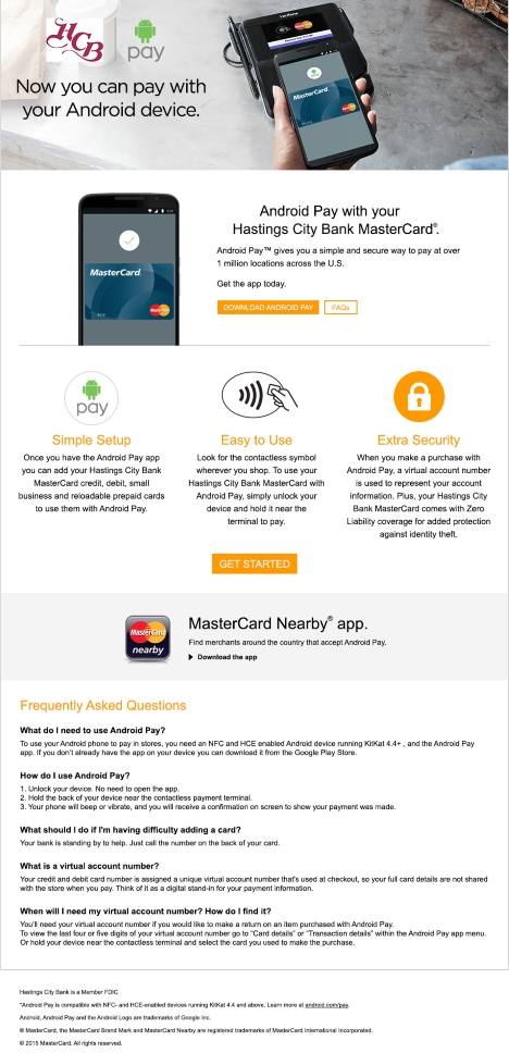 MasterCard with Android Pay