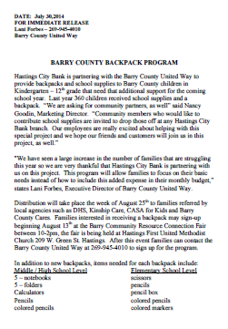 Barry County Backpack program press release
