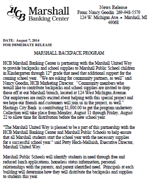 Marshall backpack program press release